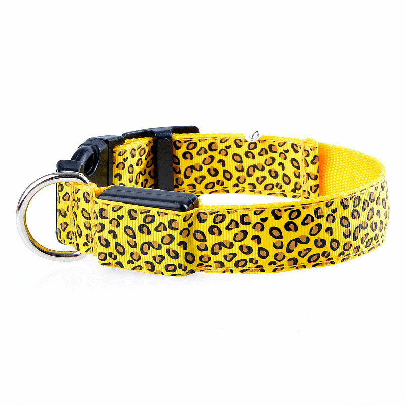 Night Safety Leopard Pattern LED Dog Collar! ★FREE★