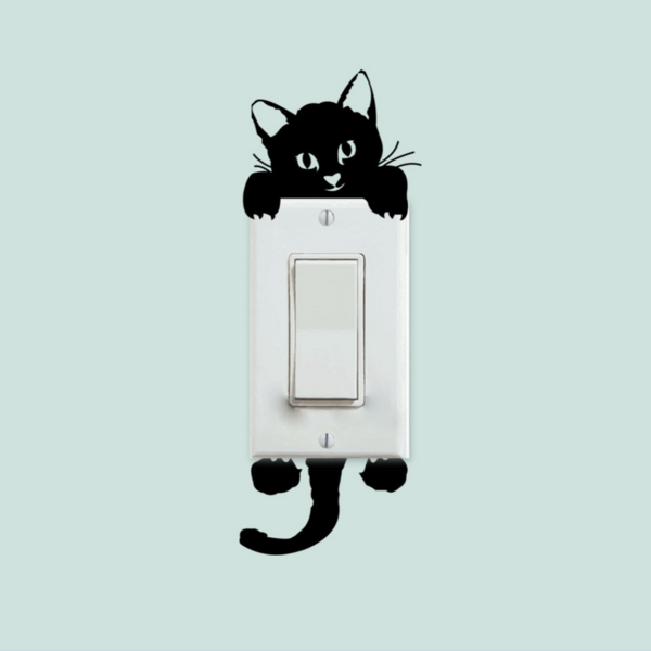 Black Cat Switch Wall Stickers