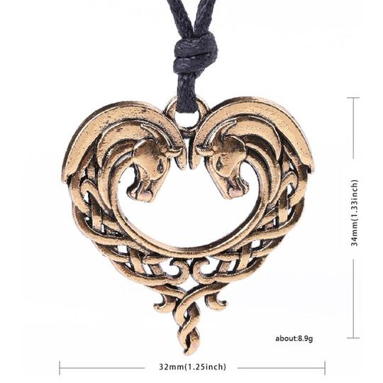 Celtic Heart Horse Necklace