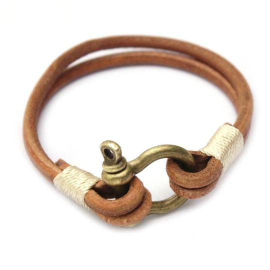 Rustic Leather Horseshoe Bracelet