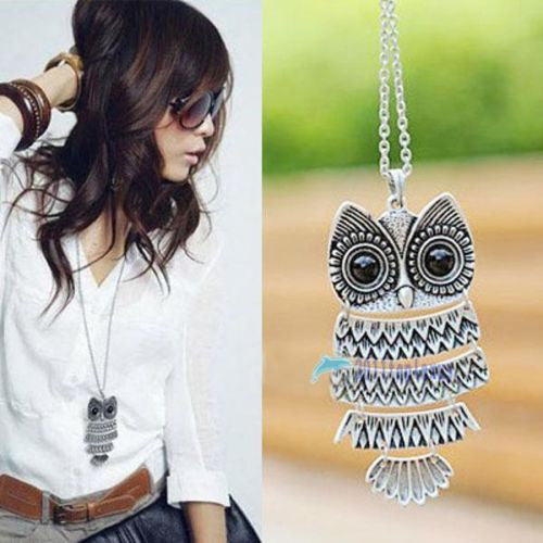 Vintage Silver Owl Pendant Necklace best Gift For XMAS ★FREE★