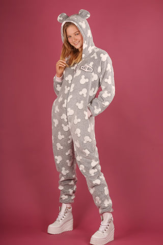 DISNEY'S MICKEY MOUSE GREY & WHITE ADULT ONESIE | PRIMARK