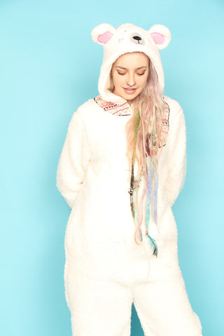 Pretty Polar Bear Scarf Onesie | Onesieful