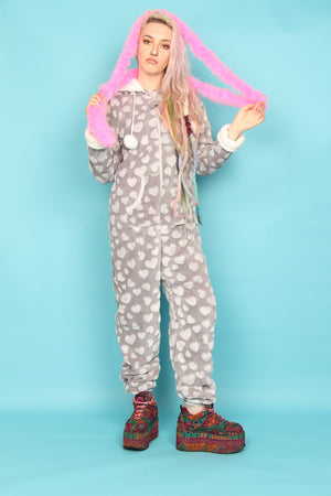 Luxury Grey Heart Fluffy Bobble Onesie  | Primark