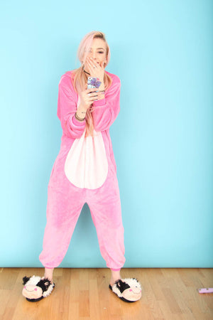 Adult Pink Stitch Onesie | Onesieful