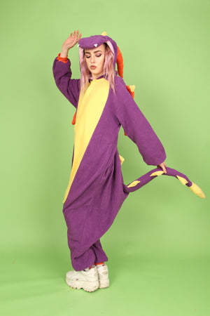 Premium Royal Purple Dragon Onesie | Wonzee