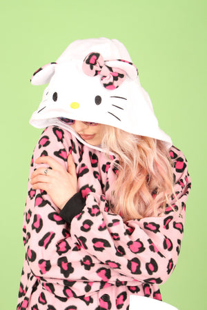Hello Kitty Hot Pink Leopard Print Onesie | Onesieful