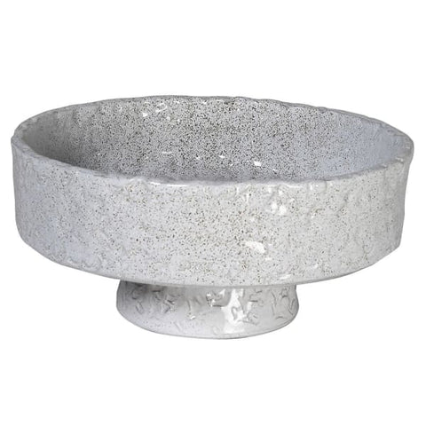 Pale grey hammered footed bowl.