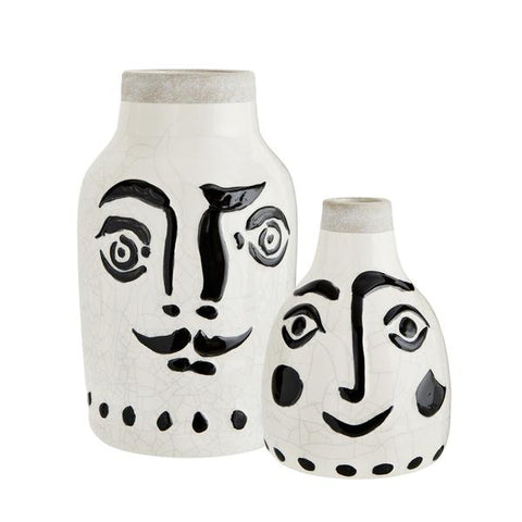 Madam Stoltz stoneware vase with painted face