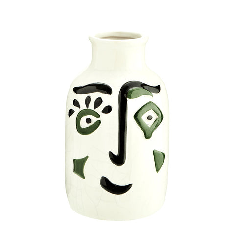 Madam Stoltz Small Green Painted Face Vase