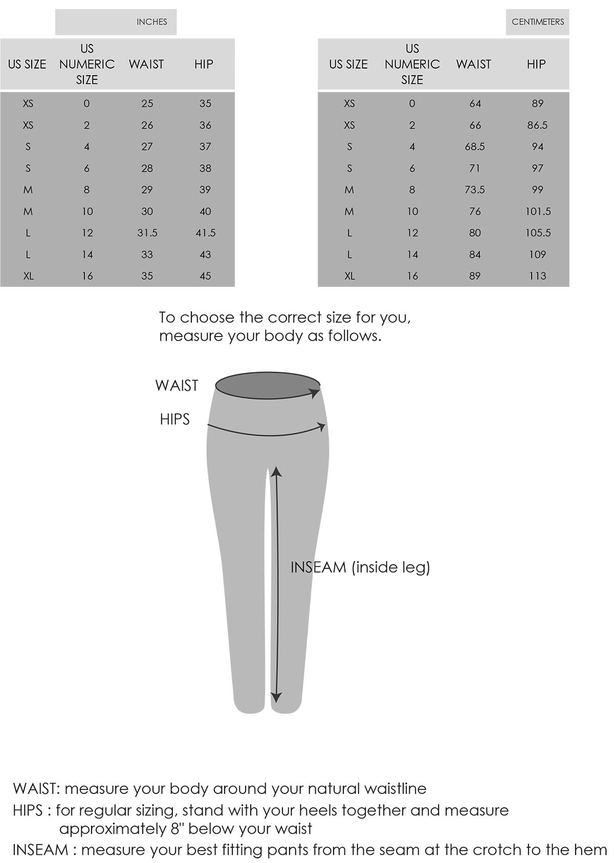 Slimming pants size chart
