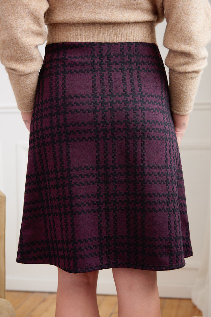 Melissa Wine Knit A-line Skirt