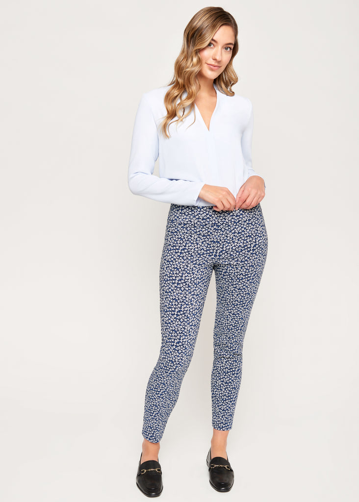 Tracey Navy Flower Slimming Pant