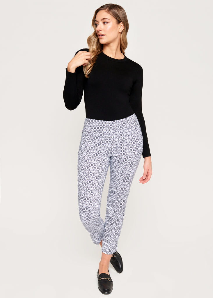 Catherine White/Navy Geo Slimming Pant