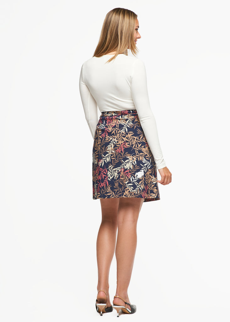 Emily Multi Leaf Print Skirt