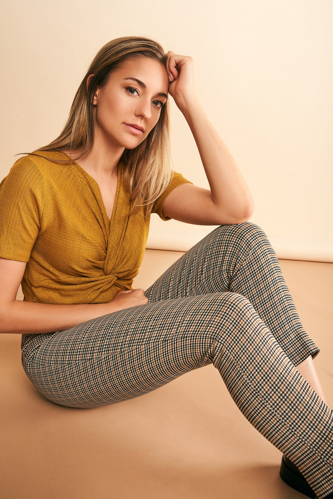 Marlie Brown Plaid Slimming Pant