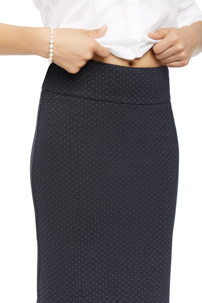 Katie Ponte Dot Pencil Skirt
