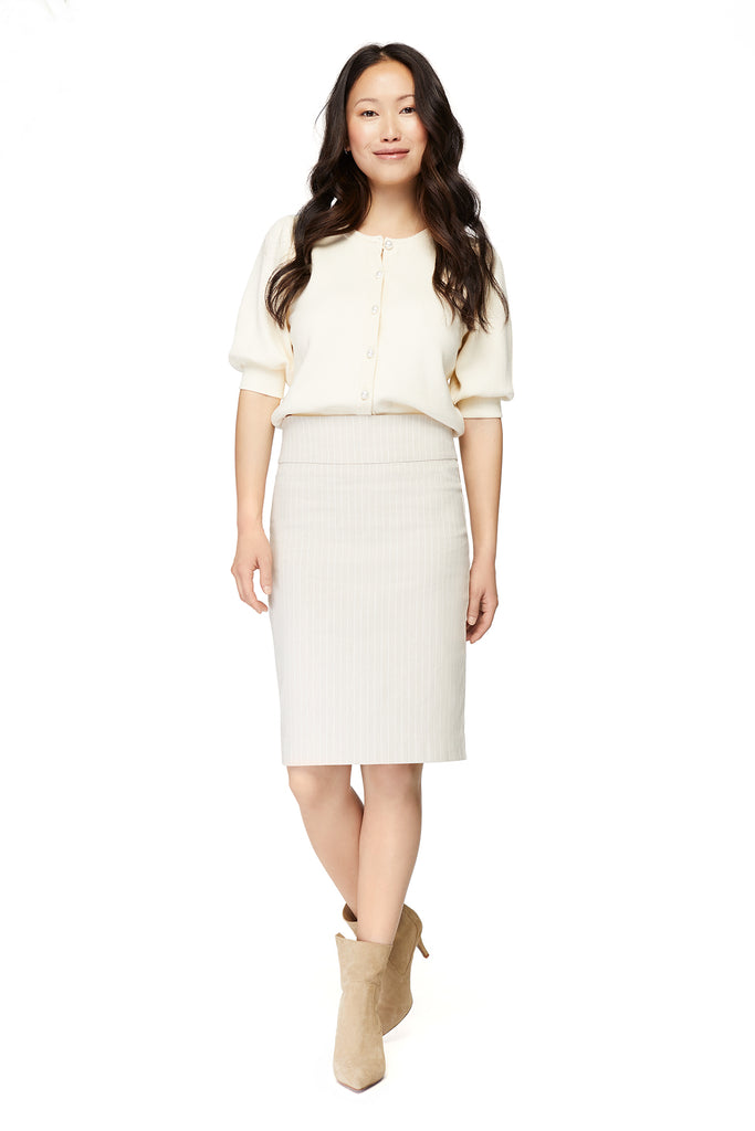 Katie Linen Printed Pencil Skirt