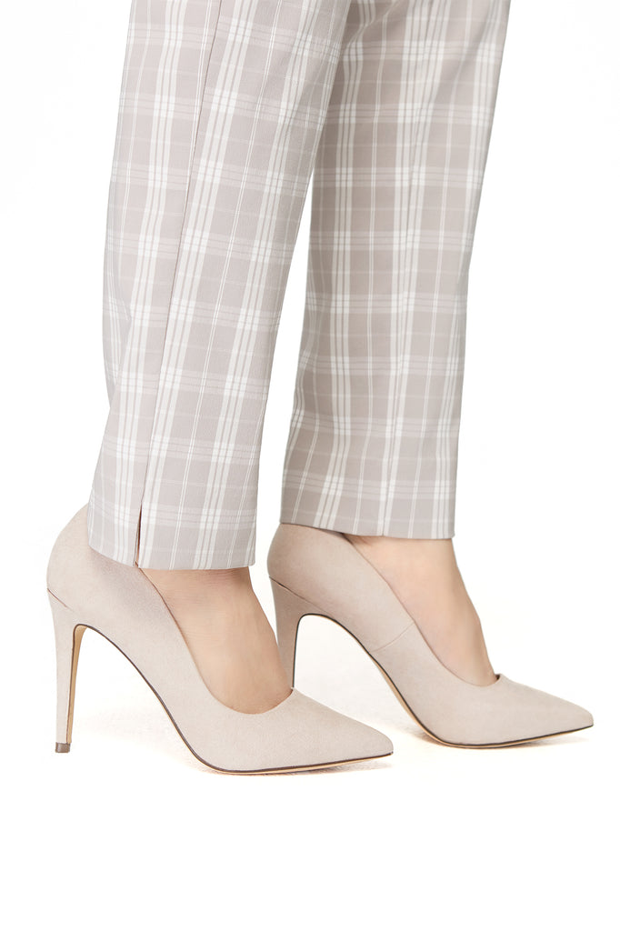 Marlie Beige/White Plaid Slimming Pant