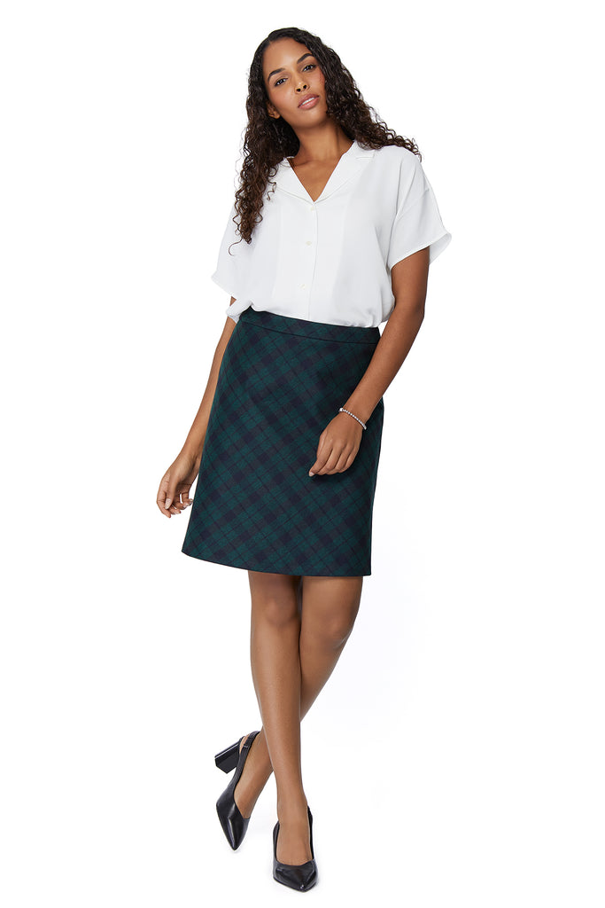 Emily Textured Green/Navy Plaid Skirt