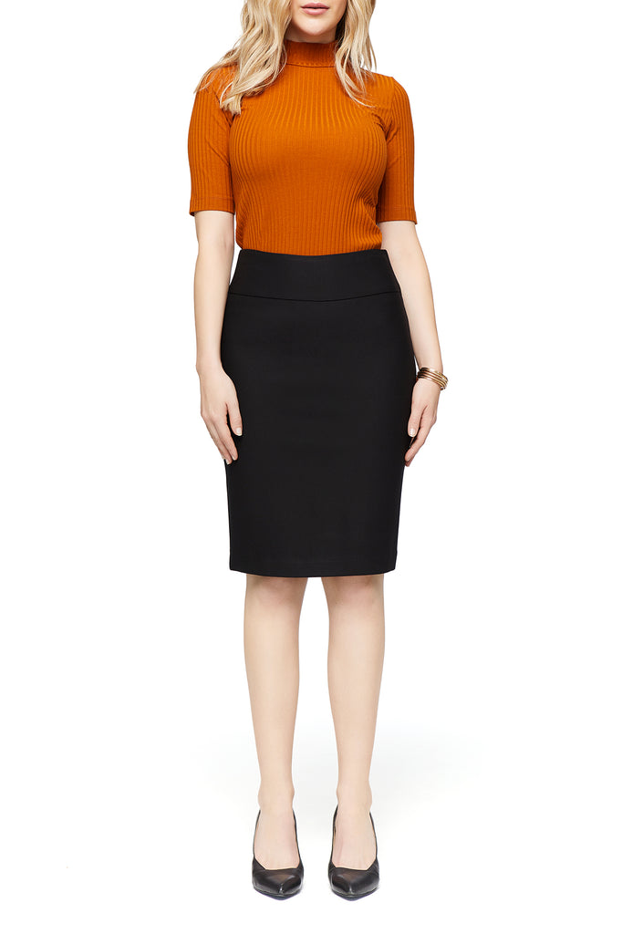 Katie Ponte Black Pencil Skirt