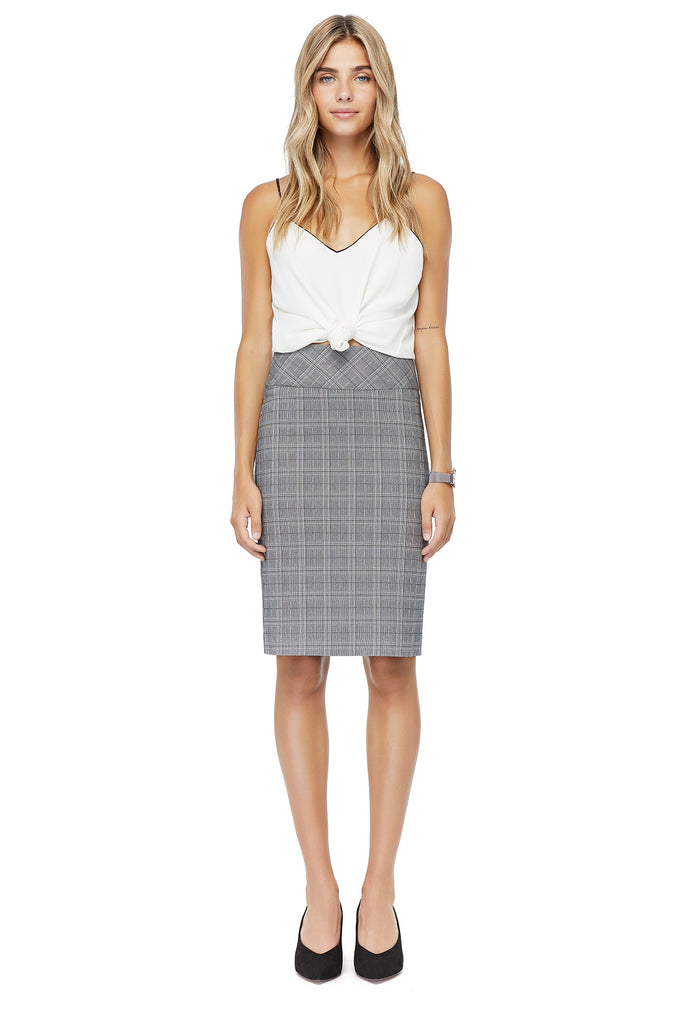 Katie Printed Plaid Pencil Skirt