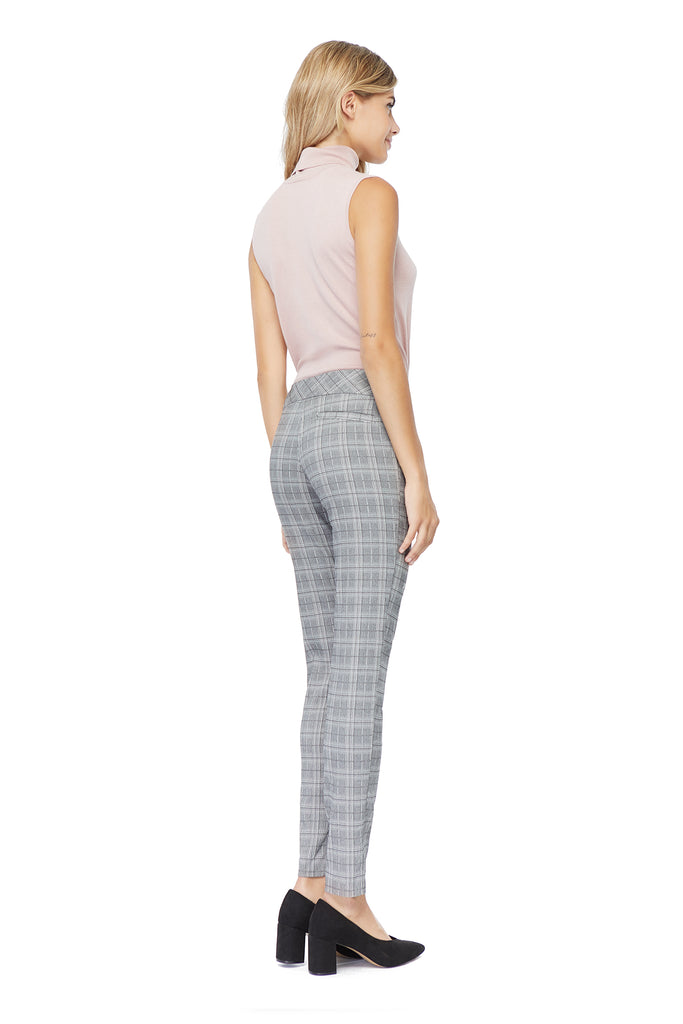 Tracey Printed Plaid Skinny Slimming Pant