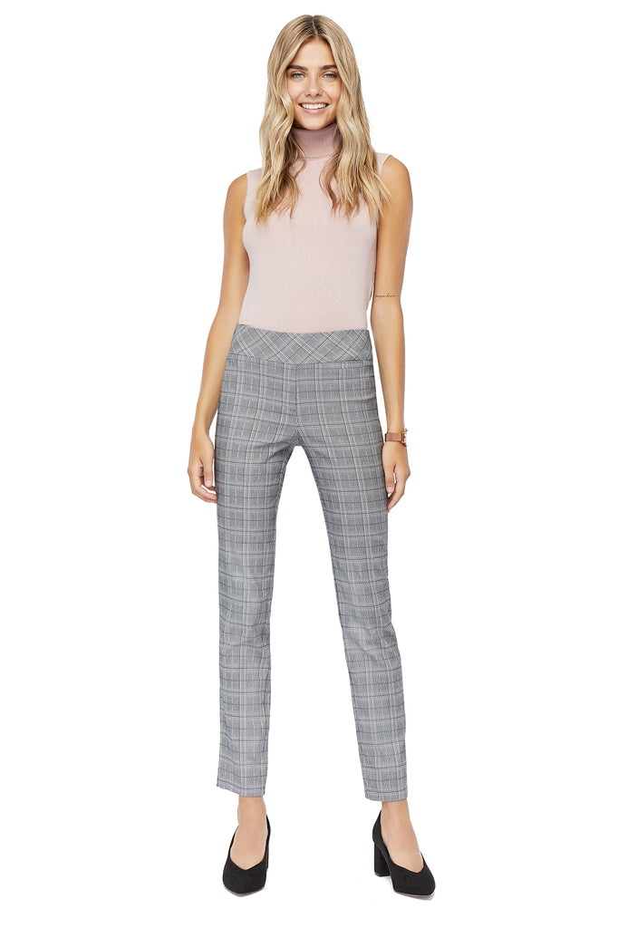 Marlie Printed Plaid Slimming Pant