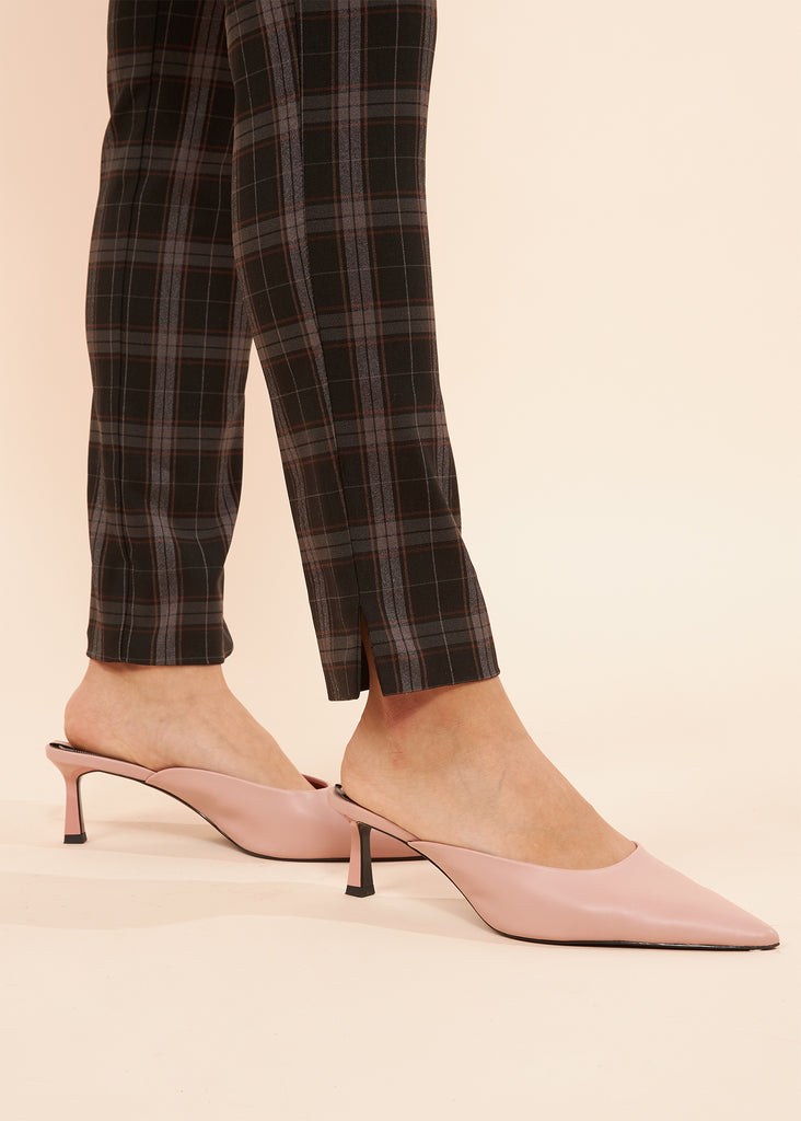 Catherine Textured Plaid Slimming Pant With Zip Pockets