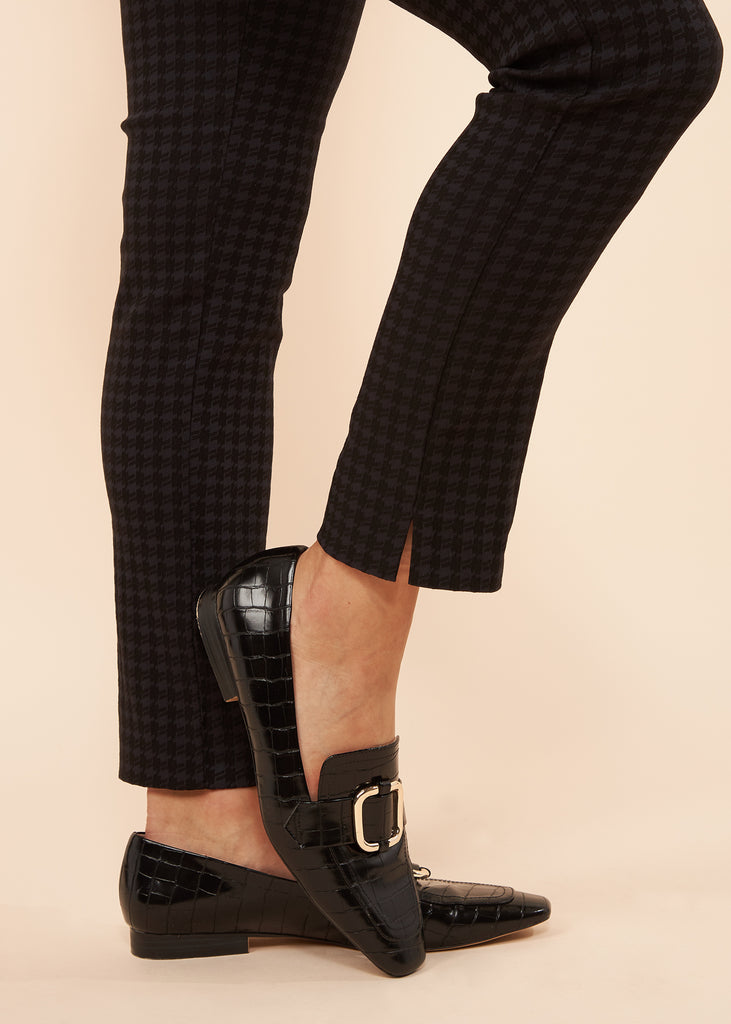 Marlie Black Textured Houndstooth Slimming Pant