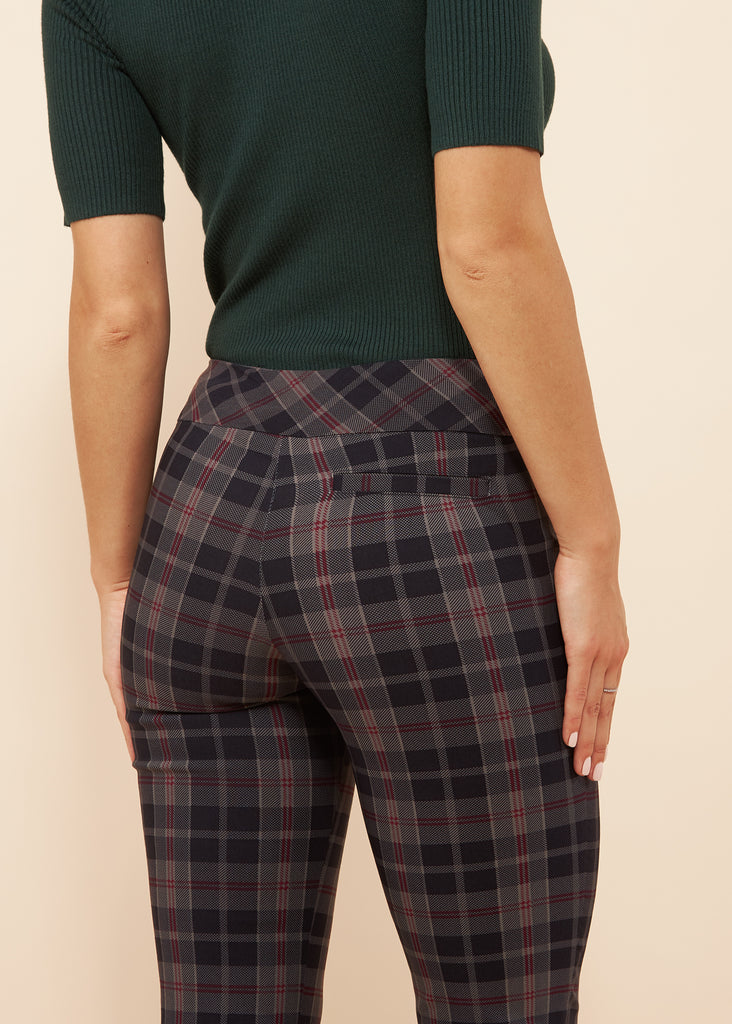 Marlie Navy Plaid Slimming Pant