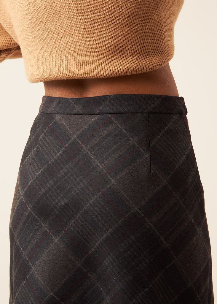 Emily Charcoal Plaid Skirt