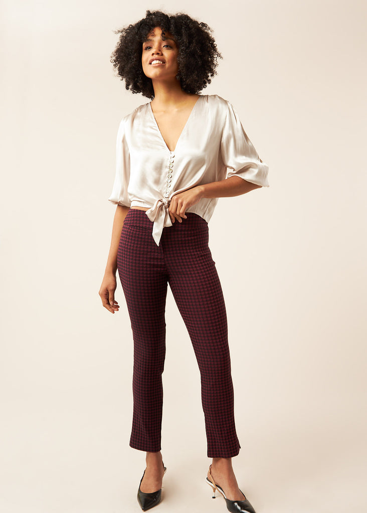 Marlie Wine Textured Houndstooth Slimming Pant