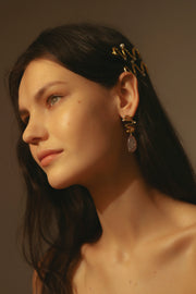 Gold Plated  Earrings hoops with hand-made Resin Pendants and freshwater pearls