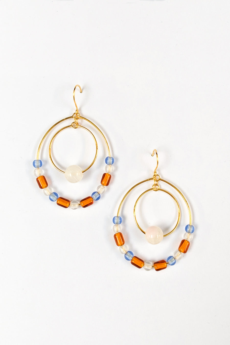 Double Beaded Hoop Earrings