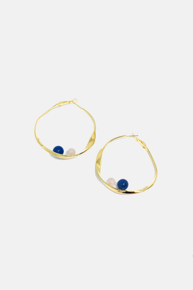 Large Drop Wave Hoop Earrings