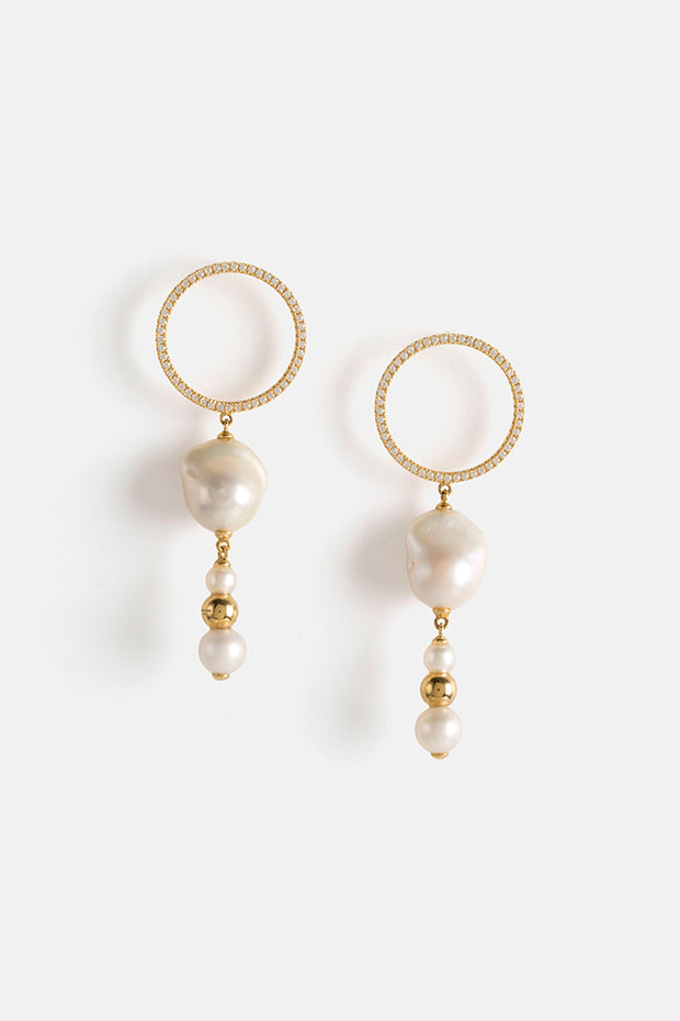 KAMILI EARRINGS IN GOLD/ CUBIC ZIRCONIA