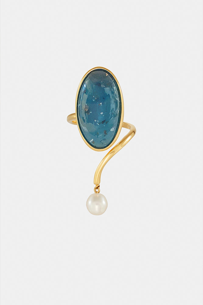 Geo Ring in Ultramarine & Pearl