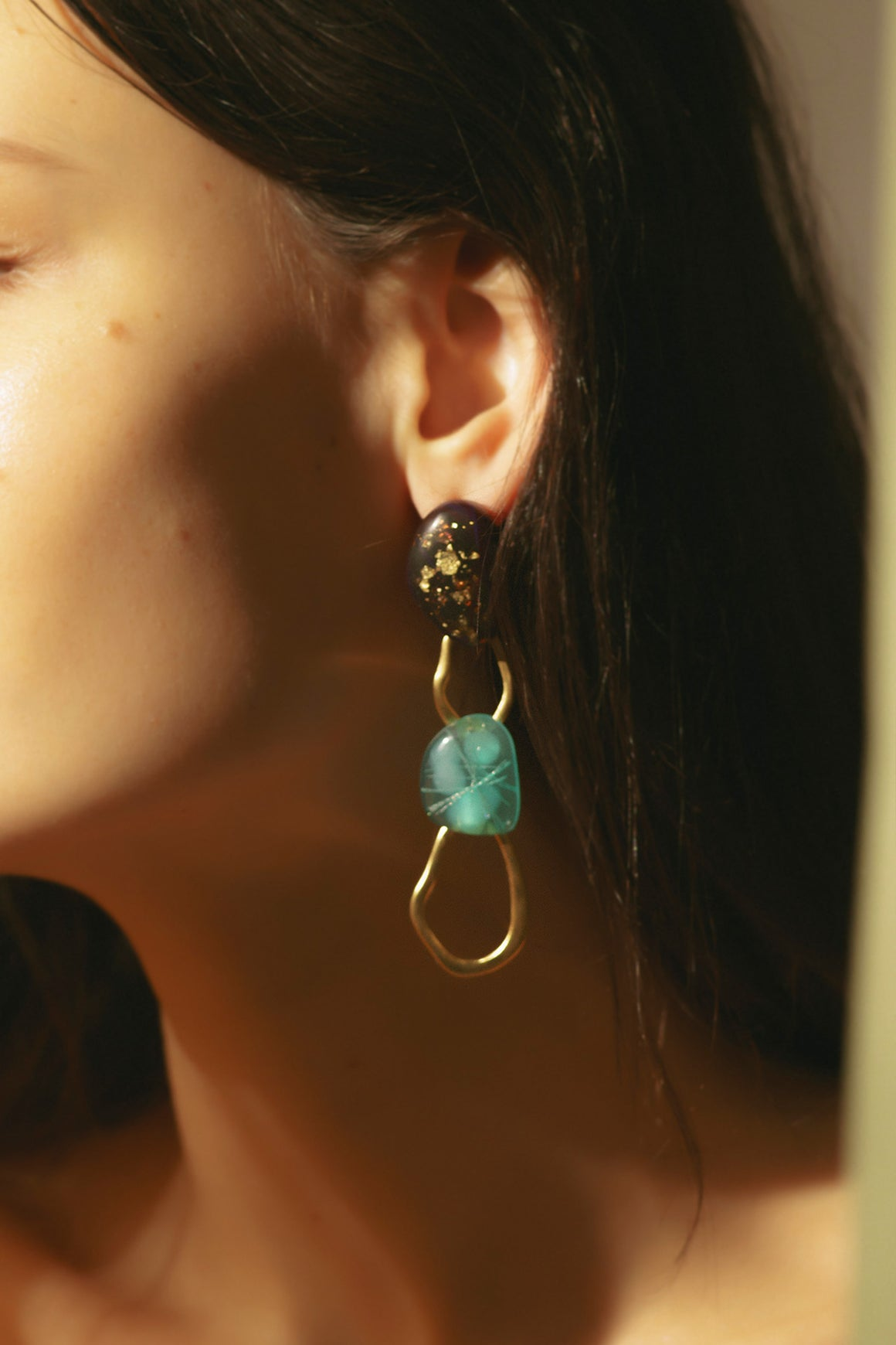 Tilda Earrings Gold Driftwood & Sea Kale