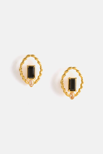 WERVELING EARRINGS IN GOLD/ EBONY