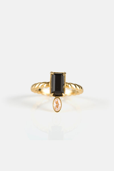 WERVELING RING IN GOLD/ EBONY