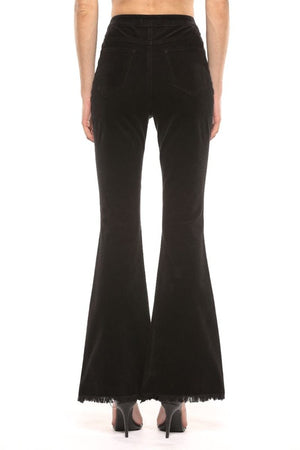 High Rise Corduroy Skinny Flare Pants in Black