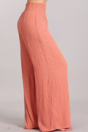 Floral Embroidered Wide Leg Pants in Salmon