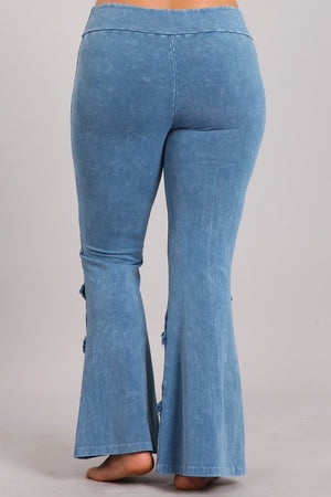 Mineral Wash Bell Bottom with Fringe in Light Denim