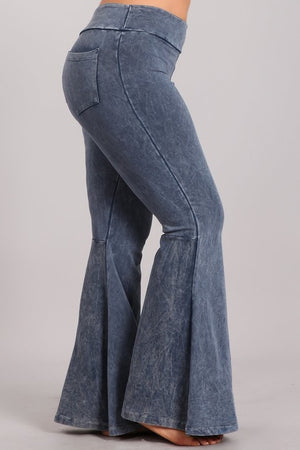 Mineral Wash Bell Bottom Pants with Pockets in Blue Grey