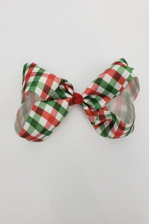 Green & Red Plaid French Knot Bow Clip