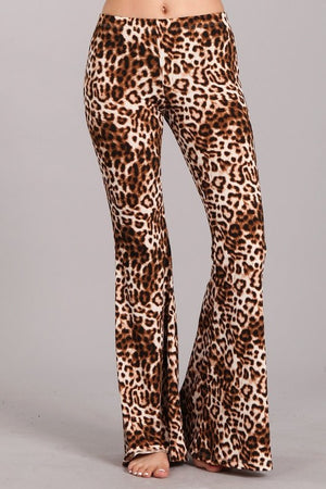 Brown Leopard Print Bell Bottom Pants