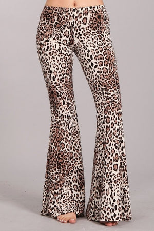 Black Leopard Print Bell Bottom Pants