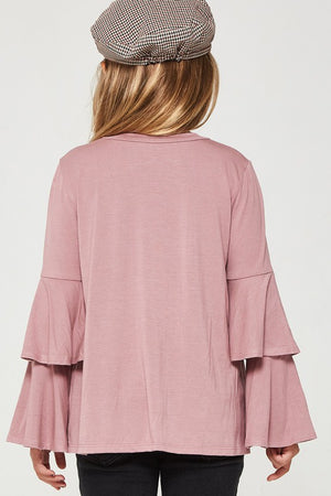 Tiered Bell Sleeve Top in Mauve