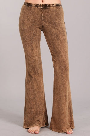 Mineral Wash Bell Bottom Pants in Chocolate